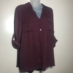 XL NY&COMPANY Maroon Button Up Blouse Shirt Top